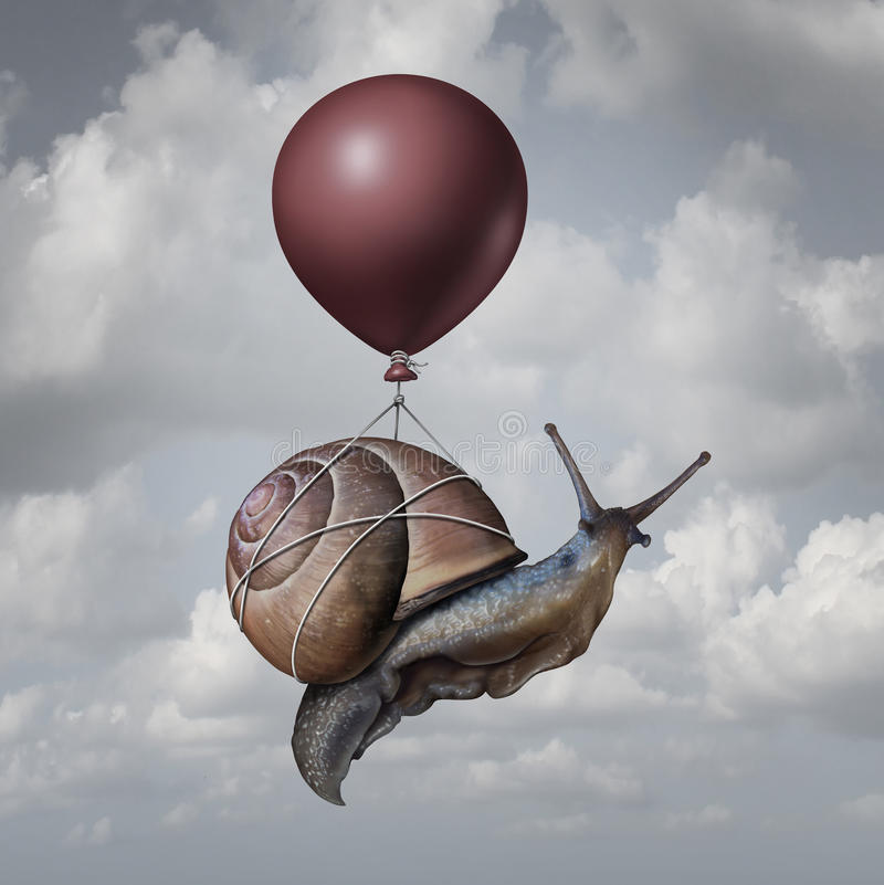 Success Concept. And business advantage idea or game changer symbol as a balloon lifting up a slow generic snail as a new strategy and innovation metaphor for stock illustration