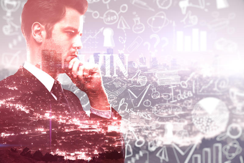 Success concept. Businessman with business sketch on red city background. Success concept, Double exposure royalty free stock photo