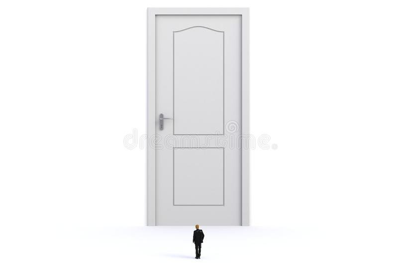 Success concept with businessman, Image of miniature businessman standing in front of white door on white wall background stock illustration