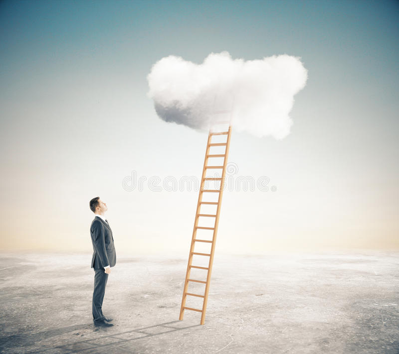 Success concept. Businessman looking at ladder leading to fluffy cloud. Success concept. 3D Rendering vector illustration