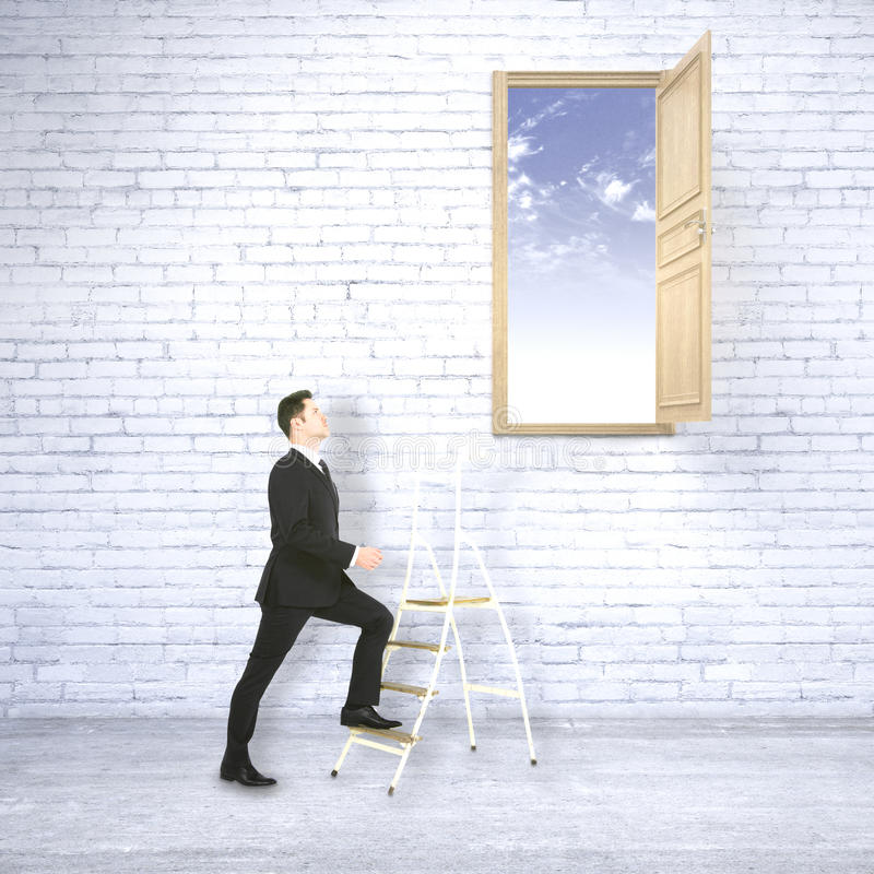 Success concept. Businessman in white brick interior climbing ladder leading to bright blue sky. Success concept. 3D Rendering stock illustration