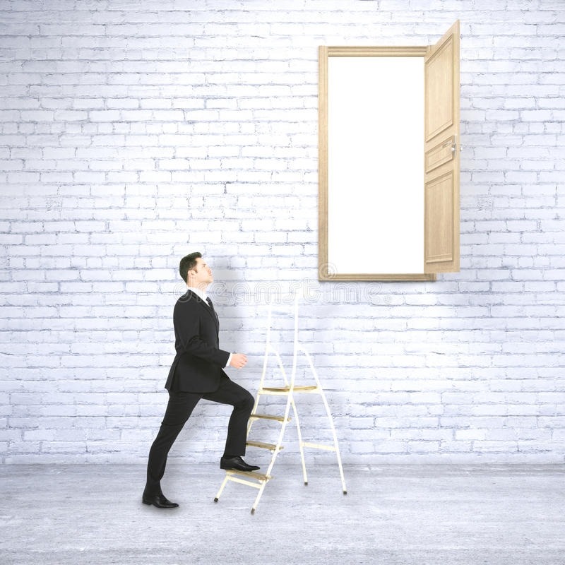 Success concept. Businessman in white brick interior climbing ladder leading to heaven. Success concept. 3D Rendering royalty free illustration