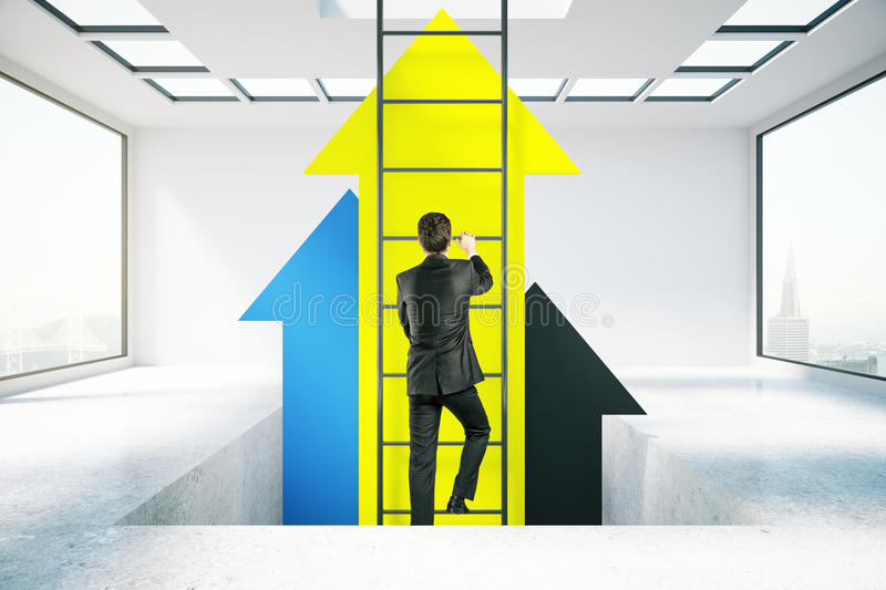 Success concept. Businessperson in concrete room climbing abstract ladder with yellow arrows. Success concept. 3D Rendering royalty free stock image