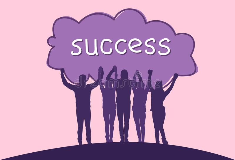 Success Concept Cheerful Group Of Business People Holding Raised Hands Happy Successful Team Silhouettes stock illustration