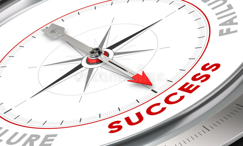 Success Concept. Compass with needle pointing the word success. Conceptual illustration for motivation purpose. Business concept image vector illustration