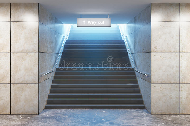 Success concept. Creative illuminated underground staircase with `way out` sign. 3D Rendering stock illustration