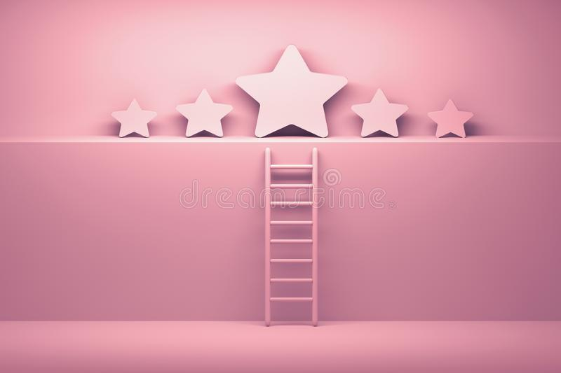 Success concept. Five stars with ladder in pink white colors. Five large white stars standing on a high shelf with a ladder symbolizing climbing to quality stock illustration
