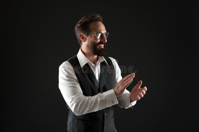 Success concept. Happy man clap hands celebrating success. Businessman applaud to success. Work hard till success.  stock photography