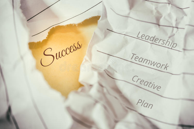 Success concept and idea crumpled paper space for text.  stock images