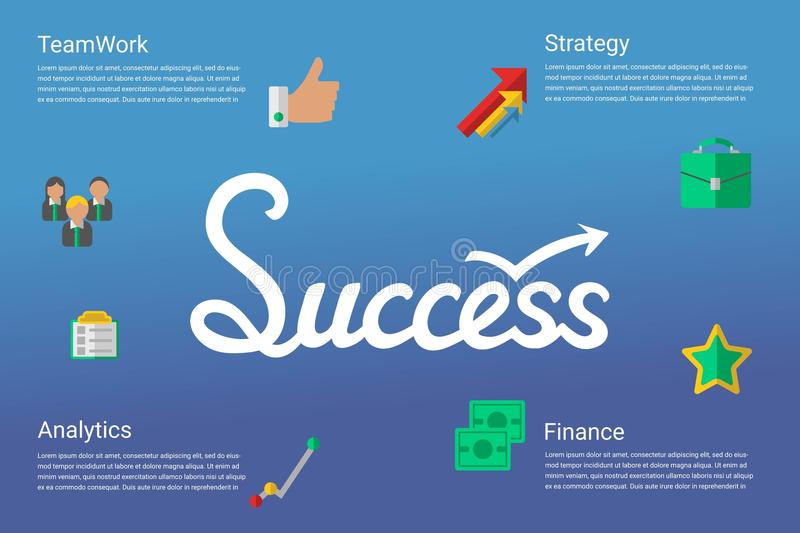 Success concept infographic with hand drawn lettering word and flat icons stock illustration