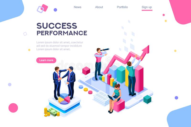 Success and motivation. Phone up with persons royalty free illustration