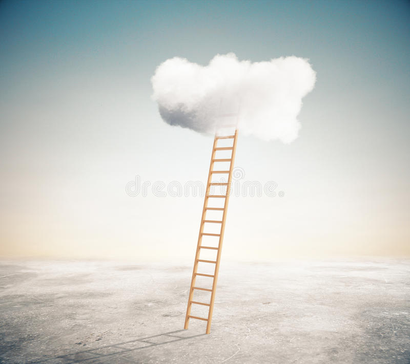Success concept. Ladder leading to fluffy cloud. Success concept. 3D Rendering vector illustration