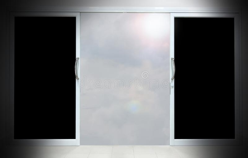 Success concept with open double door. On white background royalty free stock photography