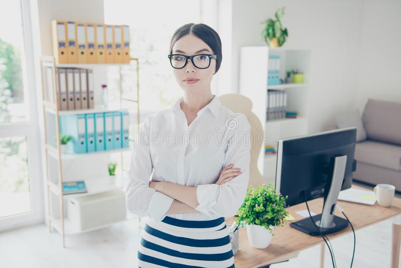 Success concept. Portrait of serious young asian business lady i royalty free stock images