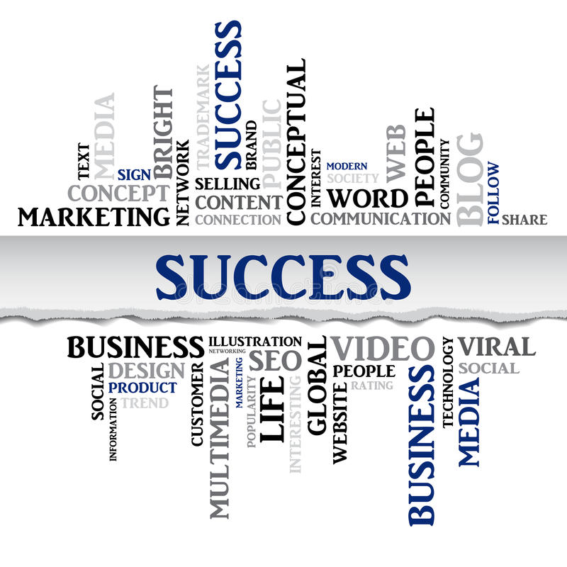 Success concept related words in tag cloud. Vector. Success concept related words in tag cloud isolated with different association business terms. The effect of stock illustration