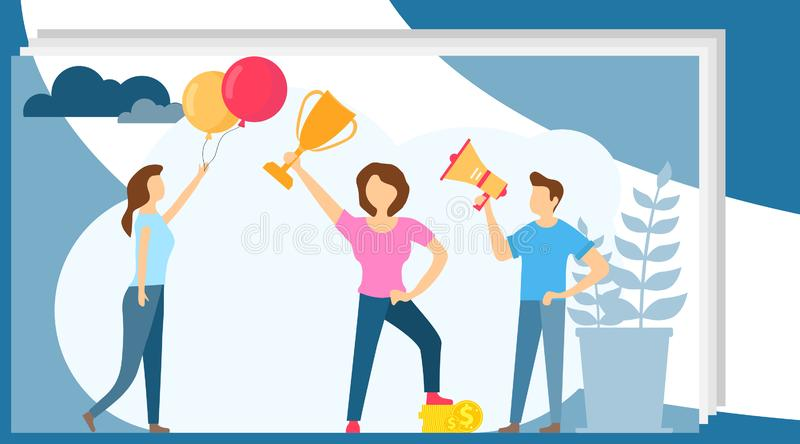Success concept. Winning in competition. Winner business and achievement concept. Business success. Big trophy stock images