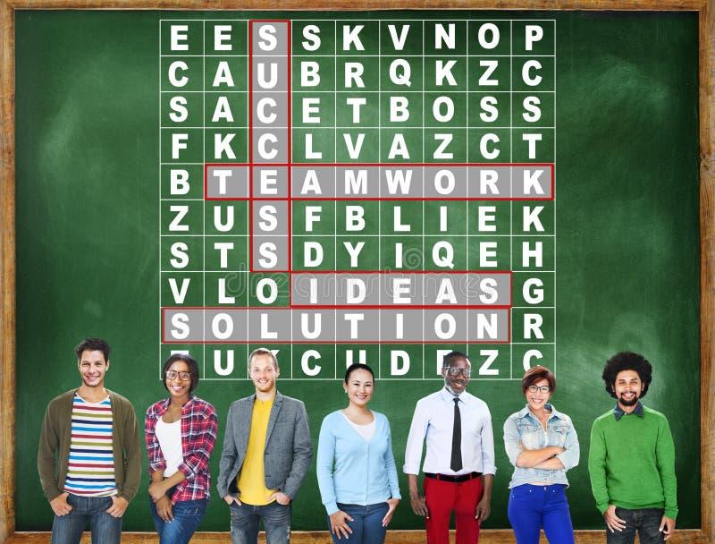 Success Crossword Puzzle Words Achiement Game Concept.  stock photos