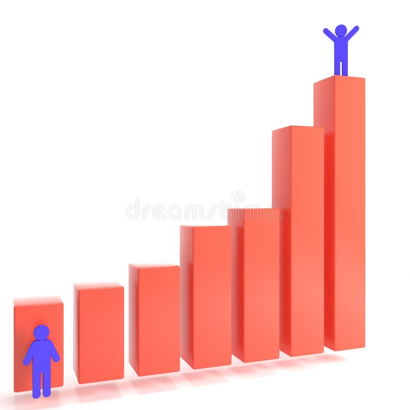 Success diagramm. With happy people stock illustration