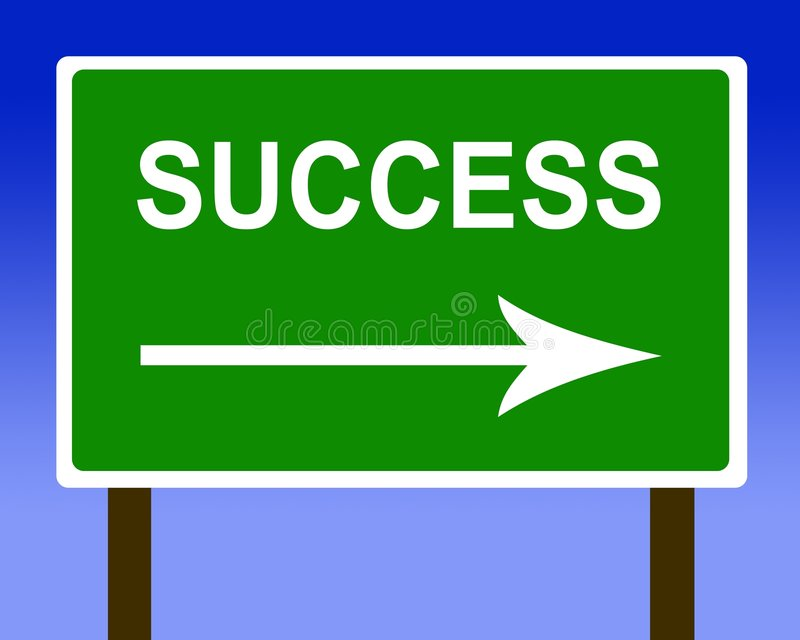 Success direction road street sign and the sky. Success road street sign and the sky vector illustration