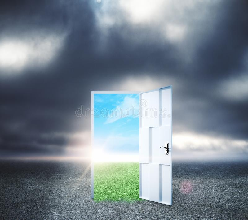 Success and dream concept. Creative opportunity door on abstract outdoor sky landscape background. Success and dream concept vector illustration