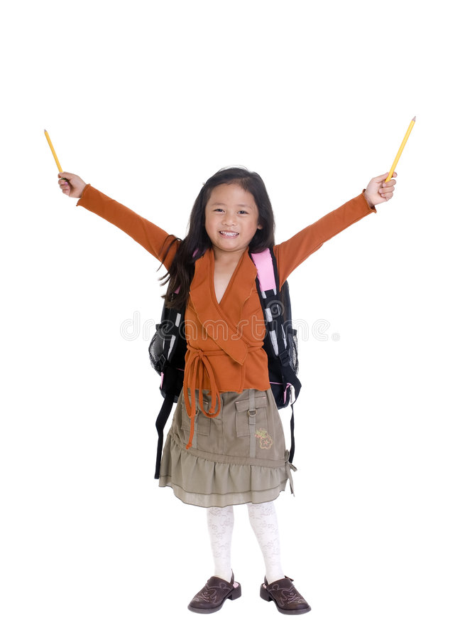 Success in Education. Going to school is your future. Education, learning, teaching. A young girl is celebrating success at school