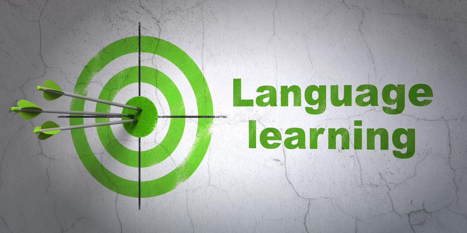 Education concept: target and Language Learning on wall background royalty free illustration