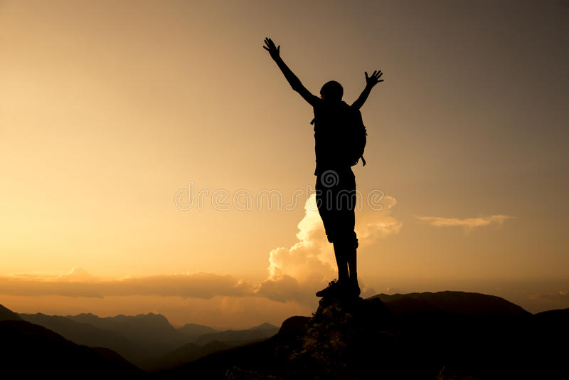 Success and enthusiasm & To be successful. Success and happiness of reaching the summit.determined and diligent person.Successful person royalty free stock images