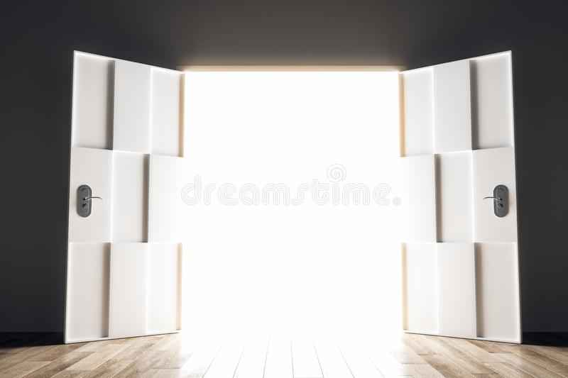 Success and entrance concept. Wide open bright opportunity door. Success and entrance concept. 3D Rendering stock illustration