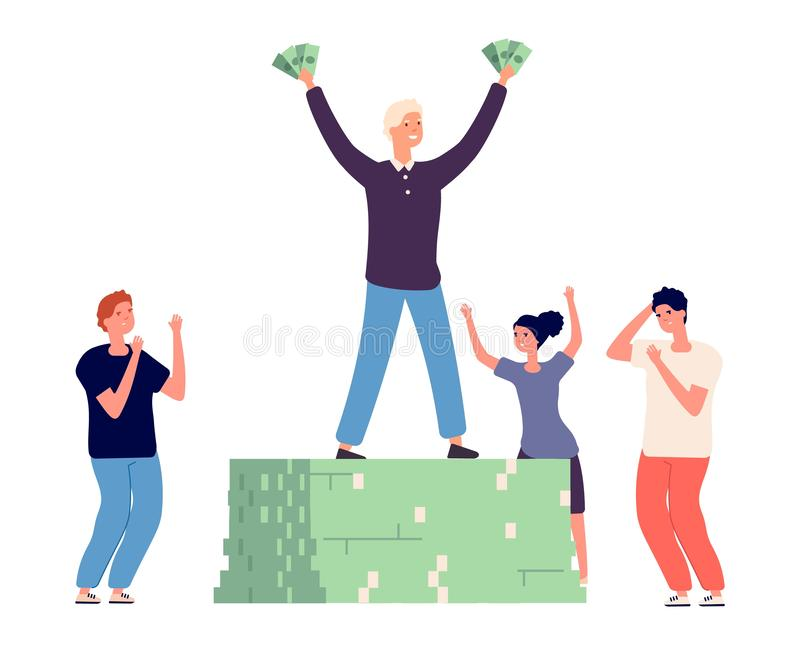 Success and envy. Rich happy man and angry conflicted people vector characters stock illustration