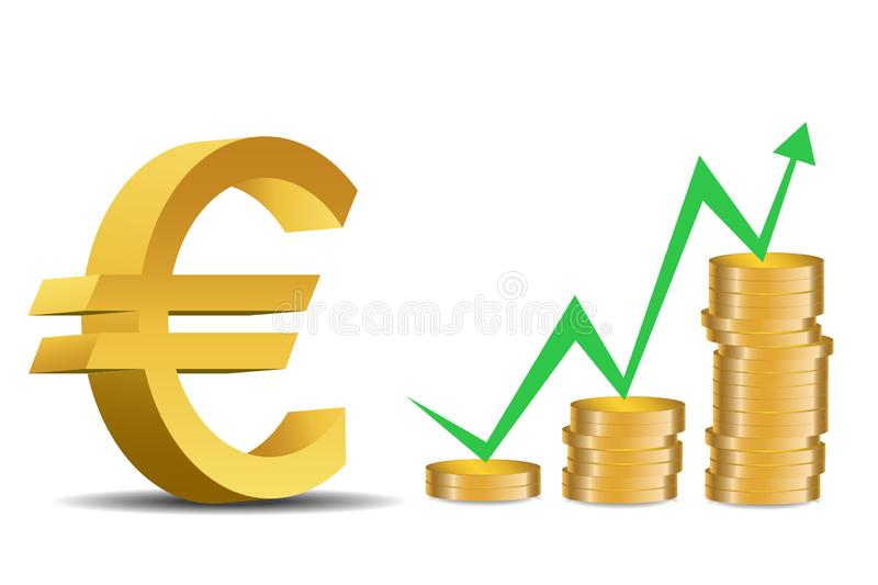 The success of the Euro currency - Illustration. Euro symbol in front of gold coins stack - illustration stock illustration