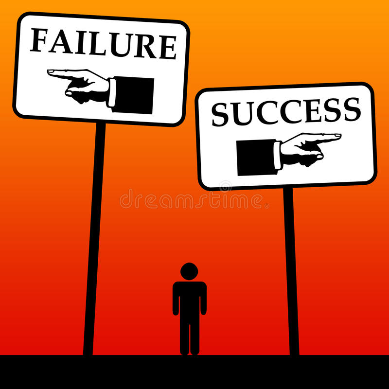 Success and failure. Balancing between success and failure in life, career and business vector illustration