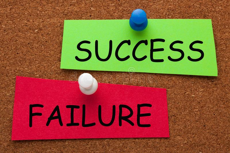 Success Failure Concept on colorful stickers royalty free stock images