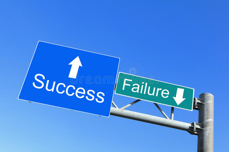 Success or Failure - road signs stock photo