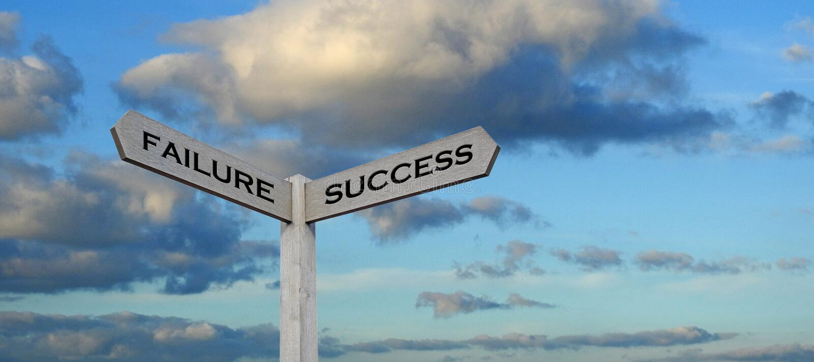 Success failure signs sign signpost compass direction arrows information public business future stock image