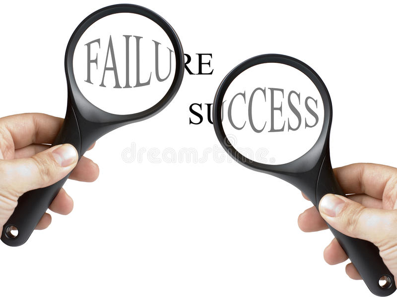 Success and Failure Text Under Magnifying Glass. Held by man hand on white background. Concept for focus on success and for analyse own errors stock images