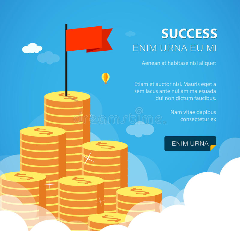Success financial rich concept. Business vector illustration. Flat style. Huge growth money stairs in sky with flag. Success financial rich concept. Business royalty free illustration