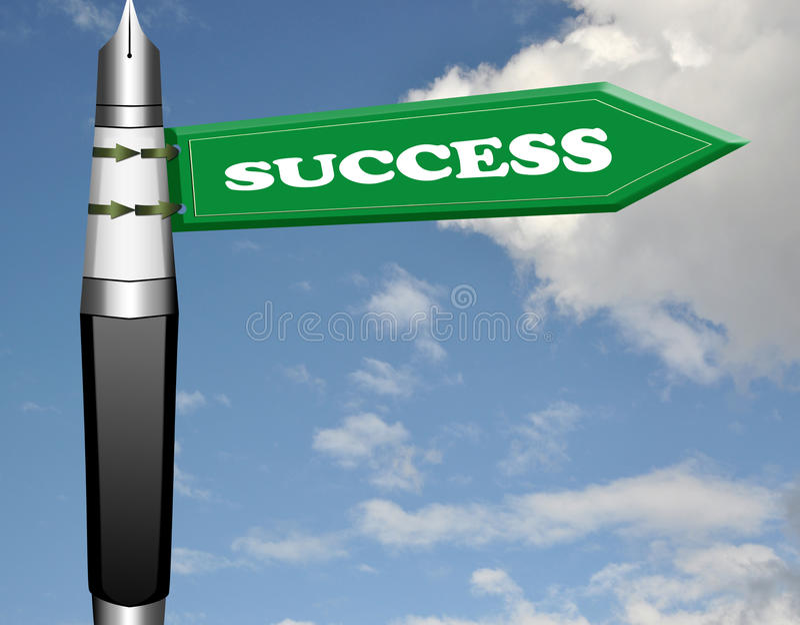 Download Success Fountain Pen Road Sign Stock Illustration - Illustration: 19206050