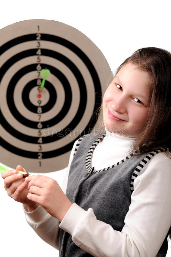 Download Success. Girl Hitting The Darts Target Stock Photography - Image: 11960632