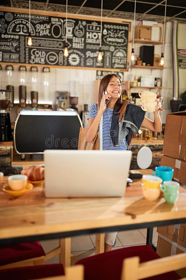 Success girl working at coffee shop - Coffee shop owner stock images
