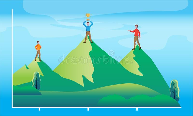 Success graph as a mountain. With corporate people stock illustration