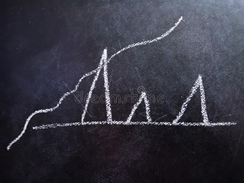 Success graph growing concept displaying on chalkboard stock images