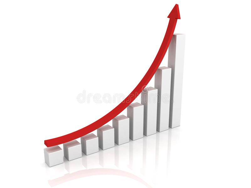 Success growing business graph with red arrow. 3d vector illustration