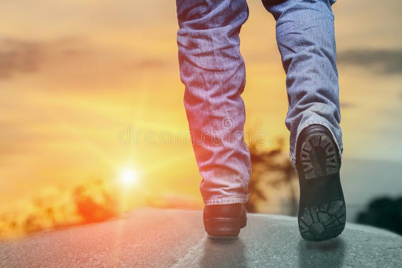 Success ideas concept with people walking to the light stock photography