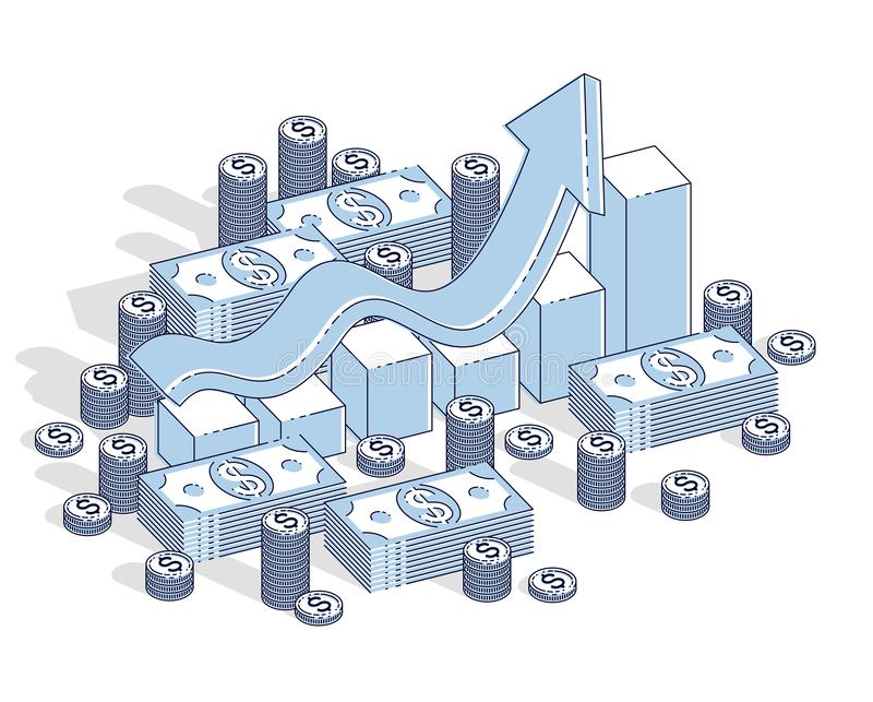 Success and income growing up concept, growth chart stats bar wi. Th cash money stack isolated on white background. Vector 3d isometric business and finance stock illustration
