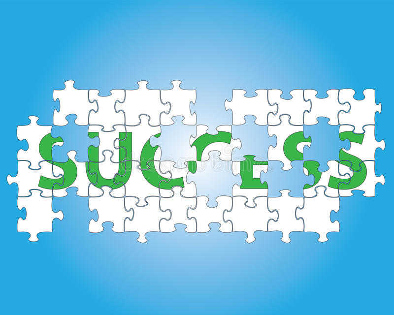 Success jigsaw puzzle. Partial jigsaw puzzle spelling the word success stock illustration