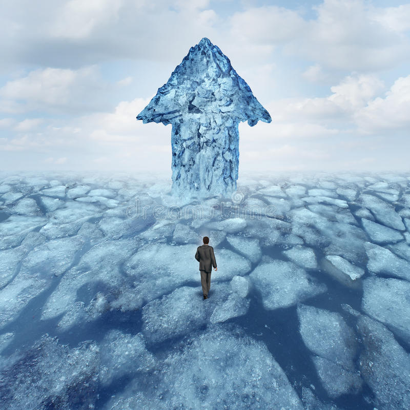 Success Journey Concept. As a businessman walking on broken frozen ice with an iceberg shaped as an arrow as a metaphor for danger risk and opportunity stock illustration