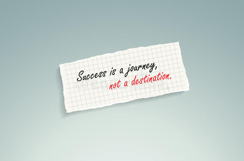 Success is a journey, not a destination. Hand writing text on a piece of math paper on a blue background stock illustration