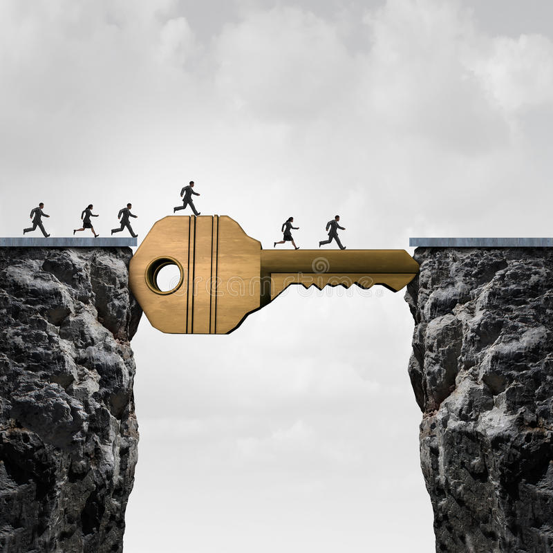 Success Key Concept. As a group of people running across two cliffs with a giant golden brass security object acting as a bridge to reach opportunity with 3D stock illustration