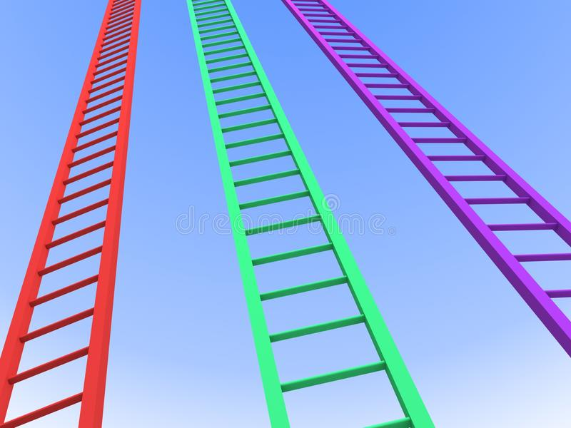 Success ladders competition to the clear blue sky. 3d stock photo