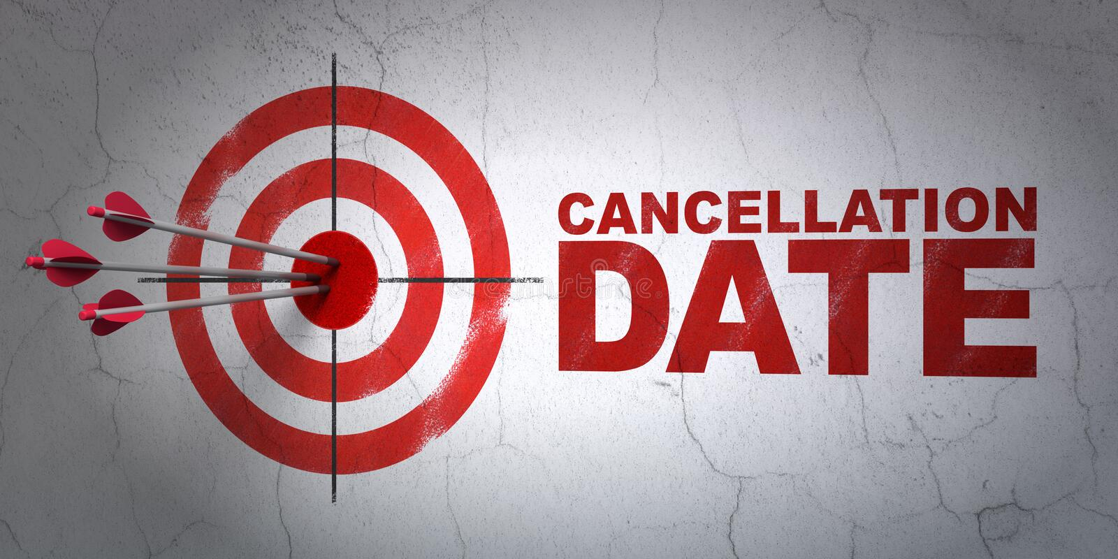 Law concept: target and Cancellation Date on wall background. Success law concept: arrows hitting the center of target, Red Cancellation Date on wall background vector illustration
